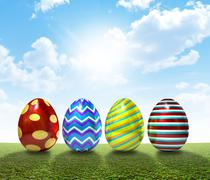 Easter Egss On Lawn - stock illustration