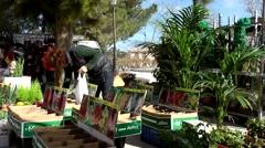 Spain Mallorca Island Sineu village 037 market stall with gardening goods Stock Footage