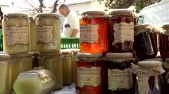 Spain Mallorca Island Sineu village 035 jars of honey on a stack Stock Footage