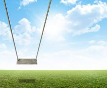 Rope Swing On Green Field Stock Illustration