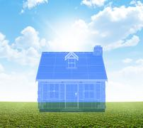 Cottage Blueprint On Green Lawn - stock illustration