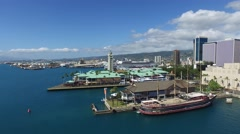 Aloha Tower, Honolulu Harbor, Oahu, Hawaii Stock Footage