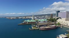 Aloha Tower, Honolulu Harbor, Oahu, Hawaii - stock footage