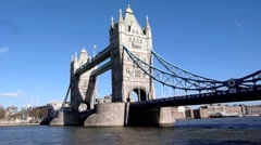 Wide angle view of Tower Bridge in  London in the  United Kingdom2 Stock Footage