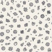 Light Seamless Pattern with Bacteria and Germs Stock Illustration