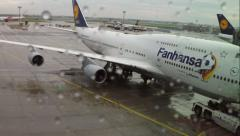 "747-400 ""Fanhansa"" Frankfurt Airport Stock Footage"