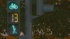 Countdown Crosswalk Traffic Lights Avoid Accidents . Pedestrians Bicycles . - stock footage