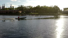Rowing Teams Practicing In Hillsborough River Stock Footage