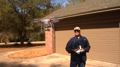 UAV-1, drone helicopter and licensed pilot, close up Stock Footage