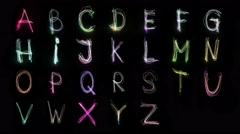 Real ligth painting alphabet Stock Footage