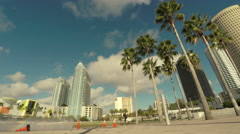 Downtown Tampa Riverside Wide Stock Footage
