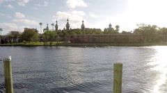 Rowing Teams Practicing Near University of Tampa Stock Footage