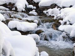 Torrent in winter Stock Photos
