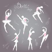 Set ballet dancers, hand drawn background, vector illustration. - stock illustration