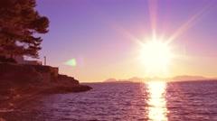 Cote d'Azur: Beautiful Mediterranean sunset. 4K - stock footage