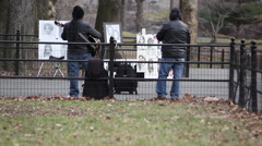 Stock Video Footage of Two musicians playing in Central Park