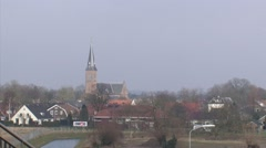 Lent village skyline + pan construction area Room for the river Waal - stock footage