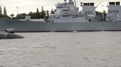 USS La Jolla SSN 701 Departure From Pearl Harbor Stock Footage