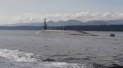 USS Pennsylvania (SSBN 735) Sails Through WA's Puget Sound Stock Footage