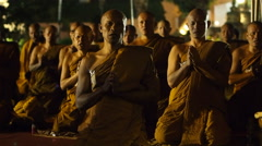 Buddhist Monks Praying at Mahabodhi Temple in Bodhgaya, India Stock Footage