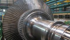 Power Steam Turbine Rotates at the Plant 01 Stock Footage