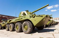 Nona-SVK 120mm self-propelled mortar carrier on wheeled chassis of the BTR-80 Stock Photos