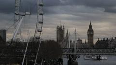 The London Eye & Big Ben/Elizabeth Tower (B-Roll/Cutaway/GV) | HD 1080 Stock Footage