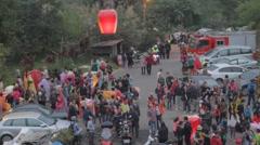 Daytime - closeup lantern going up - Taipei festival Stock Footage