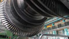 Power Steam Turbine Rotates at the Plant 02 Stock Footage