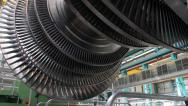 Power Steam Turbine Rotates at the Plant 02 - stock footage