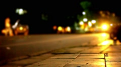 Traffic at night with blurry background and bokeh. Video shift motion - stock footage