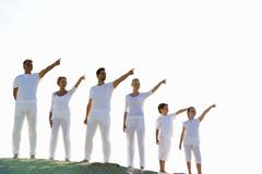 Multi generation family pointing Stock Photos