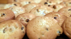Cookies biscuit with raisin Stock Footage