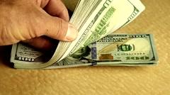 Stack of Money, 100 Dollar Bills. - stock footage