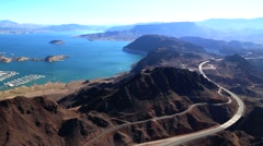 Lake Mead and Highway 93 Stock Footage