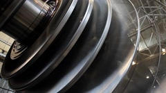 Power Steam Turbine Rotates at the Plant 04 - stock footage