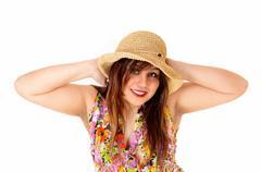 Happy girl with hat. Stock Photos