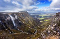 Nervion river source and waterfall Stock Photos