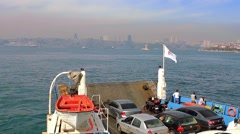 Stock Video Footage of Car ferryboat sails close to Maidens Tower. Time Lapse