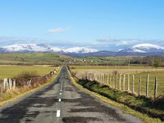 country road in towards Oiardo village - stock photo