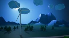 Windturbine Providing Energy For A House Night - stock footage