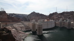 Aerial view of Hoover dam on a sunny day Stock Footage