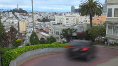 Timelapse traffic car Lombard Street San Francisco Coit Memorial Tower icon USA  Stock Footage