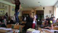 Stock Video Footage of school children. chaos in the classroom without the teacher