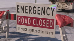 Road closed due to emergency and severe weather snow storm Stock Footage