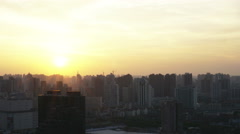 Shanghai hazy sunset timelapse in residential area apartment buildings. Stock Footage