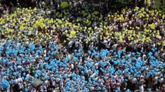 Parade with launch of 5000 balloons colors of Ukraine after school graduation 06 Stock Footage
