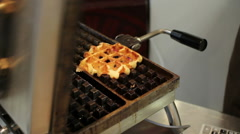Making of Belgian waffles Stock Footage