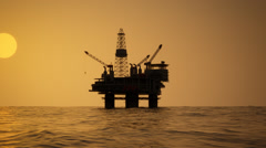 Oil Rig Drilling Platform Ocean Sunset - stock footage