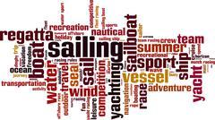 Sailing word cloud - stock illustration